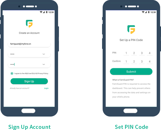 sign up famiguard  account