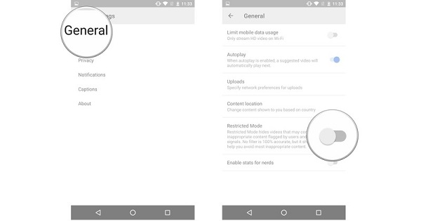 enable youtube restricted mode on android