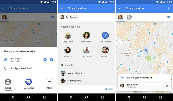 google android phone to share location