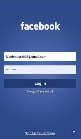 login into facebook