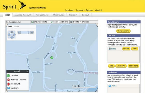 login sprint family locator app