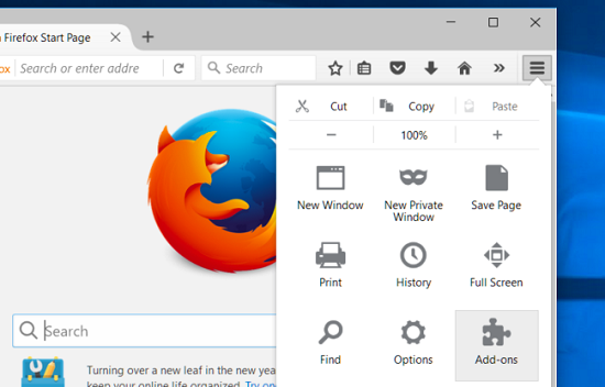 open addons on firefox