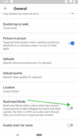 restricted mode phone