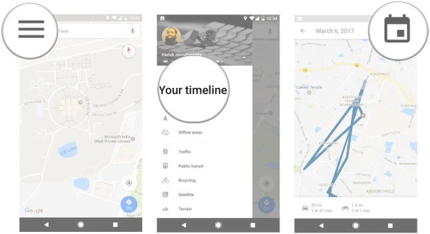 google maps select timeline