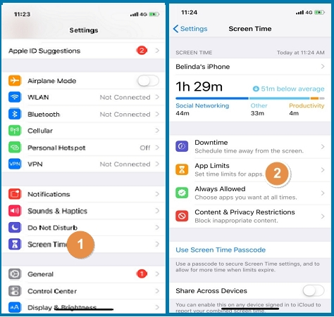 enable screen time on iphone